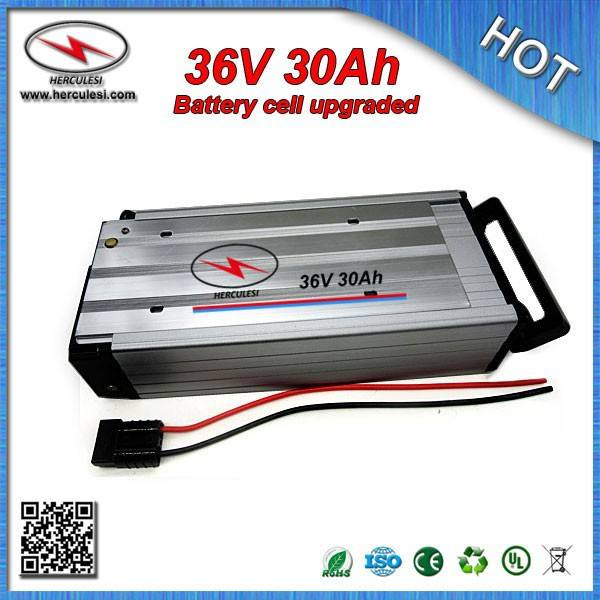 Popula 1000W 36V 30Ah Electric Bike battery with Anderson Connector Built in 18650 cell 30 Amp BMS Aluminum cased + Charger