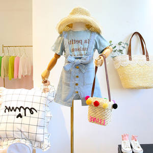 Summer Children Trendy Alphabetic Short Sleeve T-shirt with Strap Jean Skirt Dress Girl Kids Girl Clothes 5T Sets