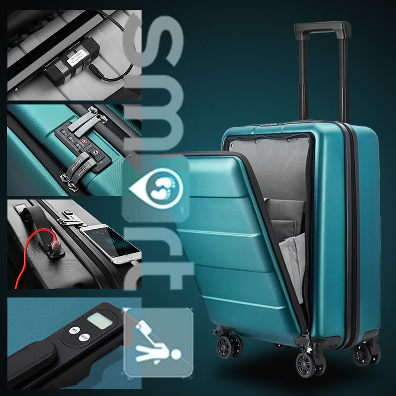 Smart luggage case with Front laptop design Can Weight GPS Positioning Suitcase USB Charging Double TSA Luggage with scale