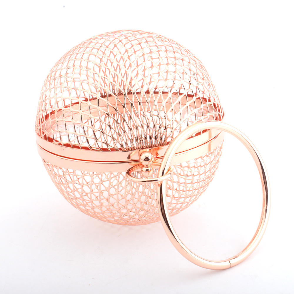 Lady Iron Mesh Ball Evening Bag Metal Special Creative Handbag