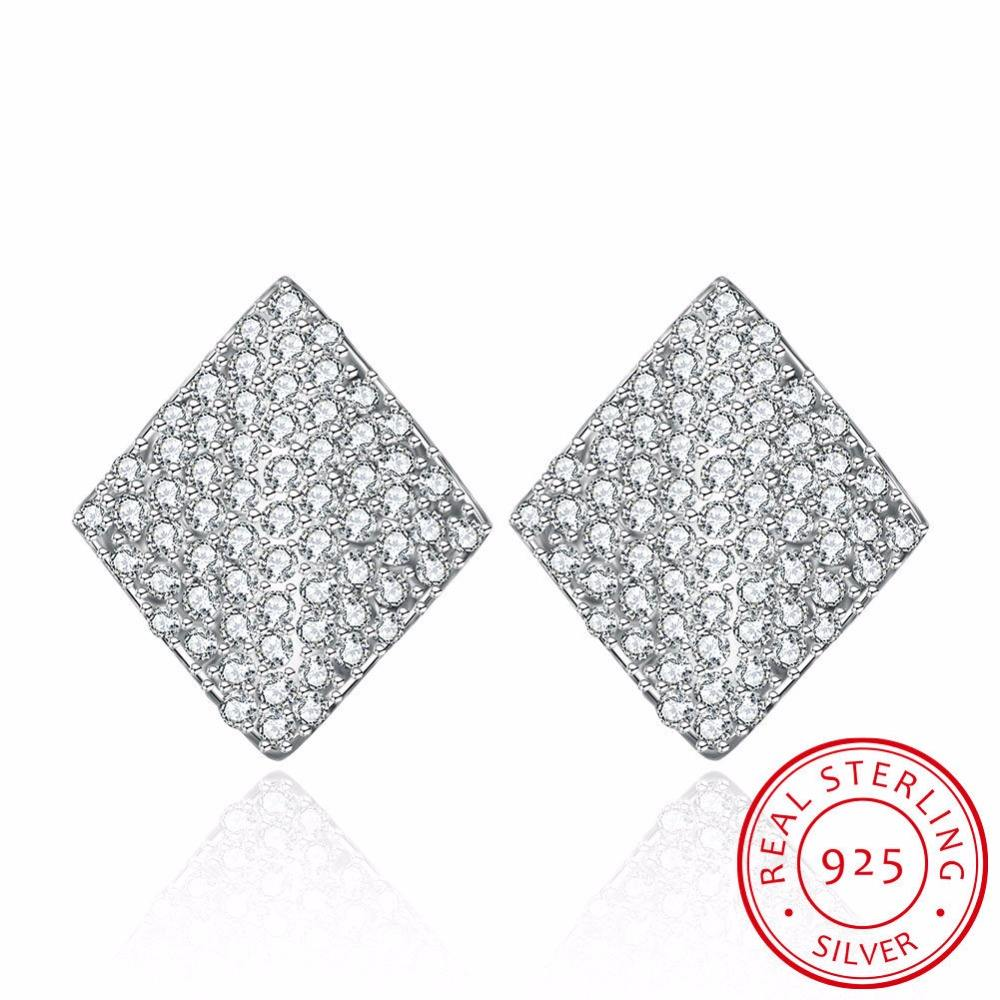 Rhombus CZ 925 silver jewelry cz stud earrings