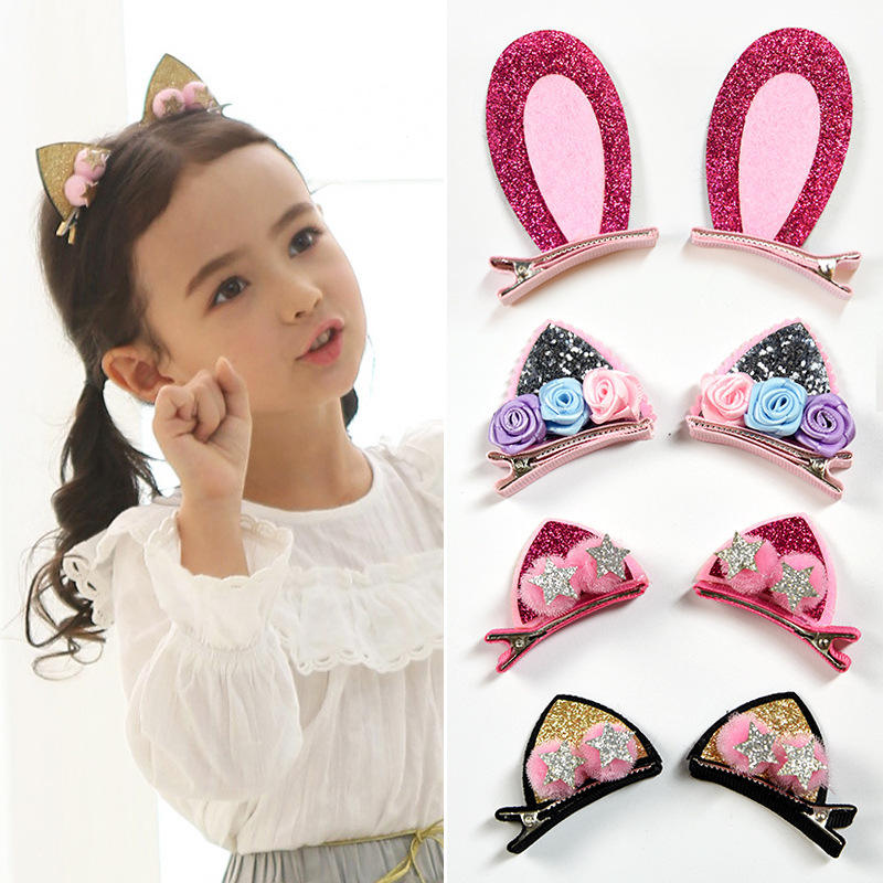 2pcs/set baby girls hairpins cat ears hair clips bunny hairgrips kids hair accessories