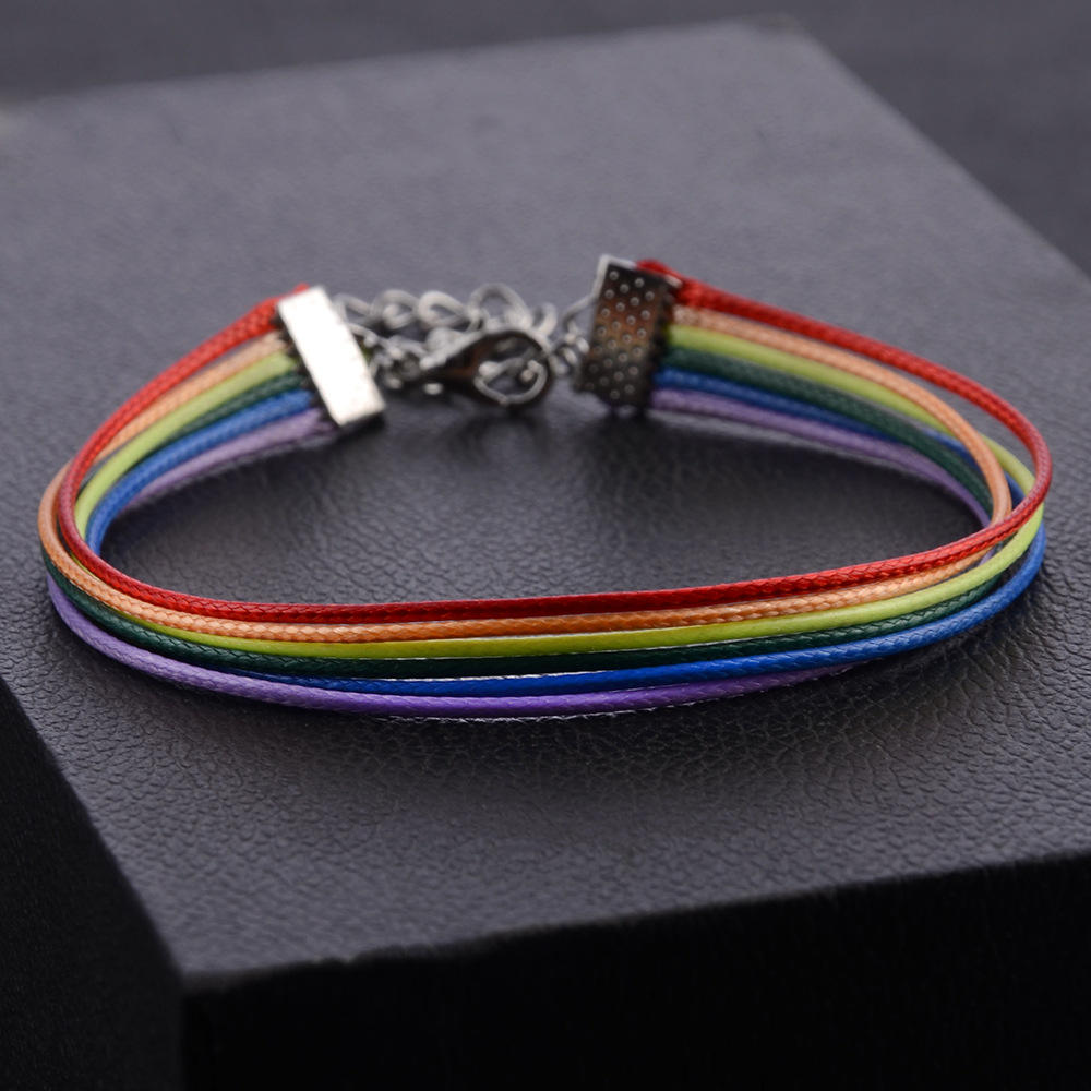 LGBT Gay Pride Lesbian Rainbow Friendship Bracelet Wax Rope Charm Jewelry Peace