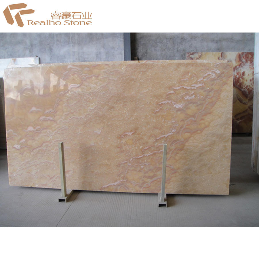 Translucent Orange Onyx Marble Stone Slab for Reception Countertop