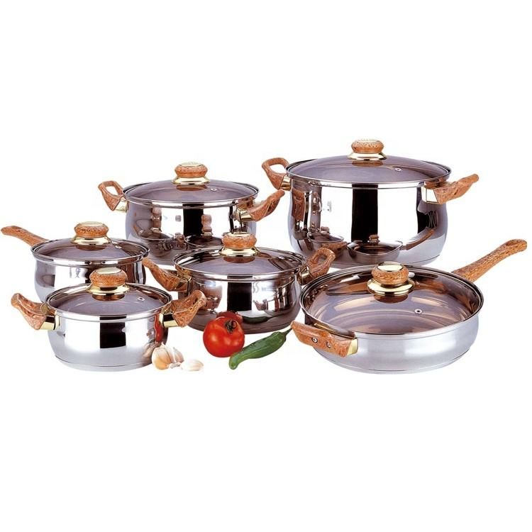 wood handle masterclass premium cookware set stainless steel with fry pan