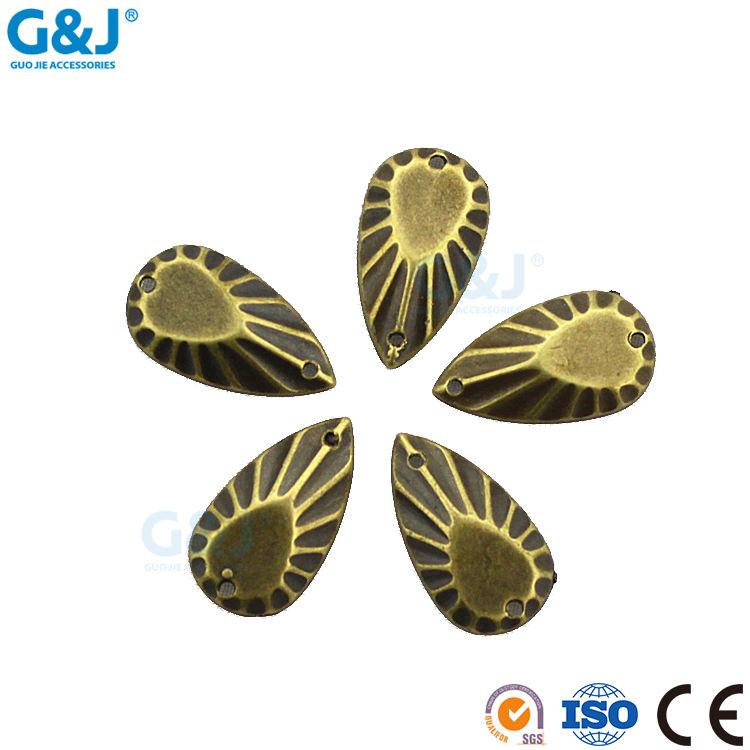 Guojie marka özel tasarım giyim Yaprak şekli kristal rhinestone dikmek