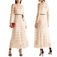 New design pleated woman maxi  dress long sleeves lace casual  dress