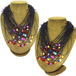 creative Handmade Double peru knot colour dyed oval shape 7-8mm freshwater pearls jewelry necklace