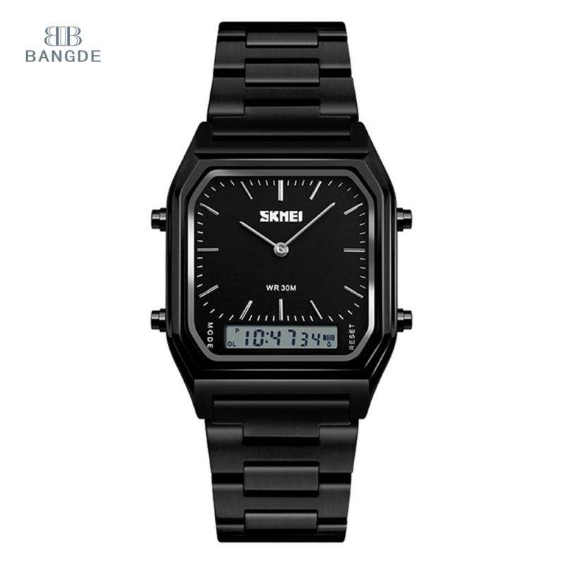 SKMEI 1220 New Display Fashion Watches Men Quartz Digital Dual Time Watch 3 Atm Stainless Steel Back Watch