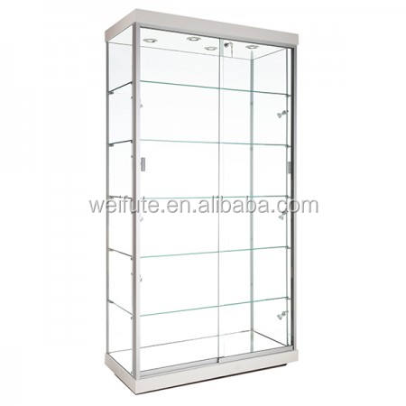 Fancy collection glass display showcase ,museum tempering glass display showcase with lock