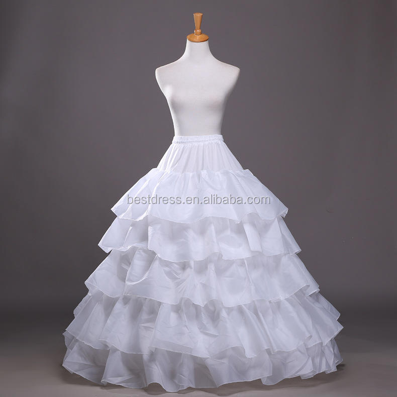 Full White Ball Gown 4 Hoops Wedding Accessories Petticoat Underskirt Slips Gown for Wedding Dress