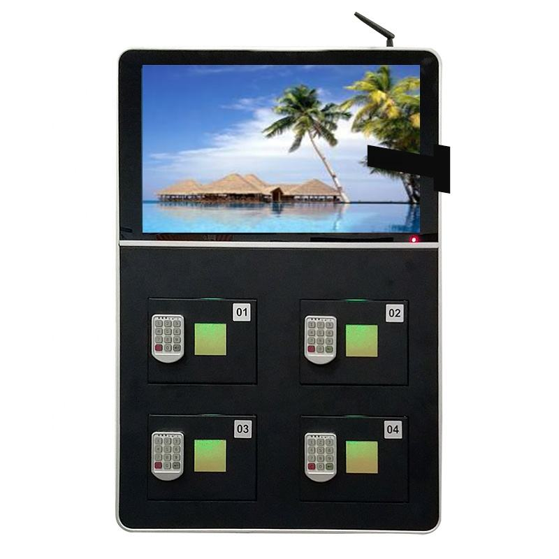 multiple cell phone charging locker with 22'' advertising display