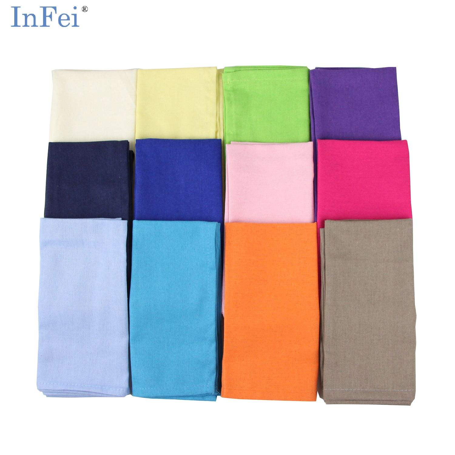 40x40 cm/15.7 x 15.7 Inches Soft Solid Color Linen Cotton Dinner Cocktail Cloth Napkins for Events & Home Use