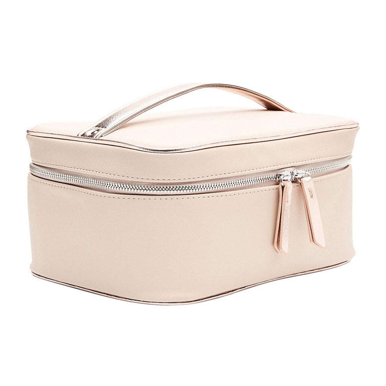 Promotional trendy elegance PU leather travelling cosmetic vanity case makeup brush box