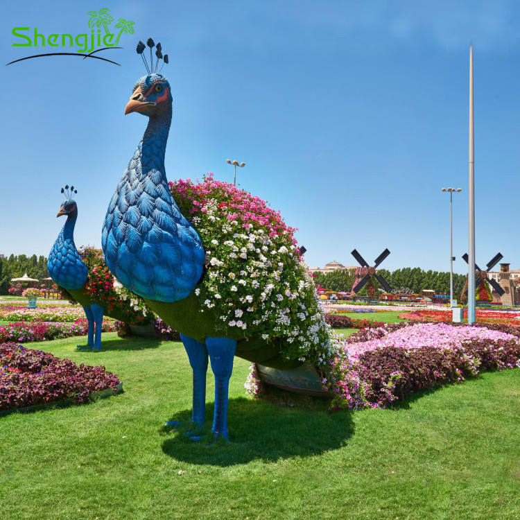 Big project park decorative artificial grass peacock topiary animal