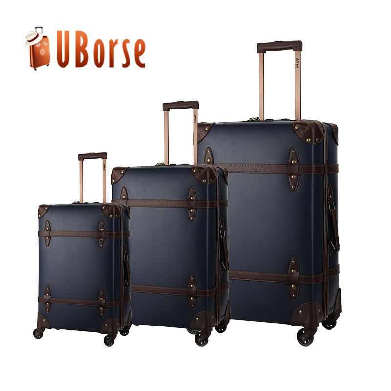 Pu leather 3 pieces Trolley luggage set,Vintage luggage suitcase,Travel luggage suitcase