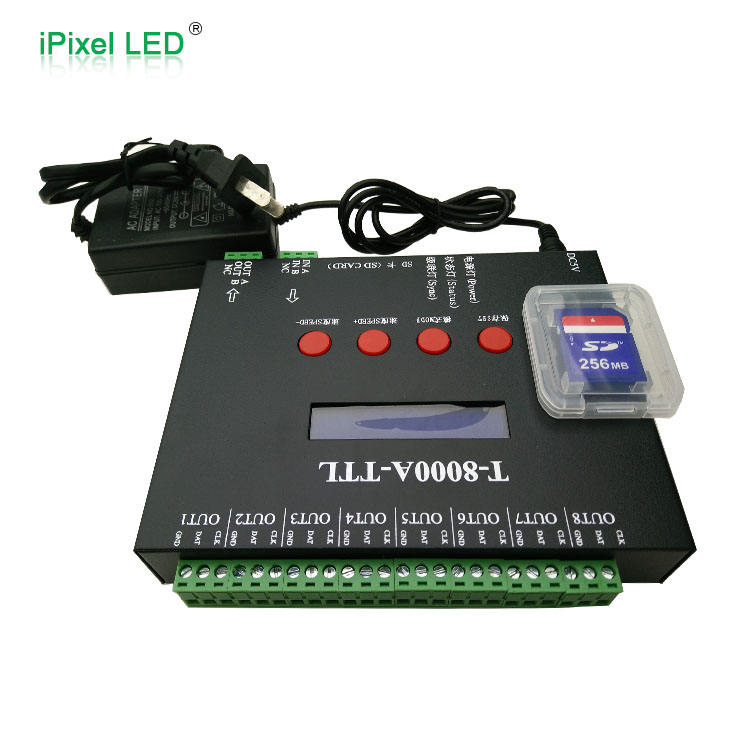 Full Color T8000 Programmable rgb SD card Pixel led controller