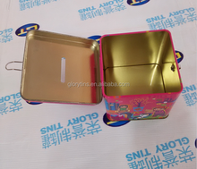 Lovely square coin bank tin, square money tin, gift piggy bank