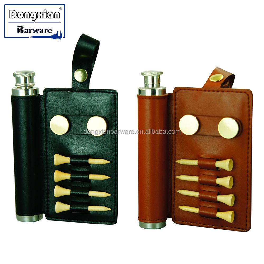 Golf Viaggi Boccetta 2 oz Hip Flask Regalo Tubo Set in cappotto di Pelle, Golf Placcato Oro Accessori con la Boccetta Set Tubo