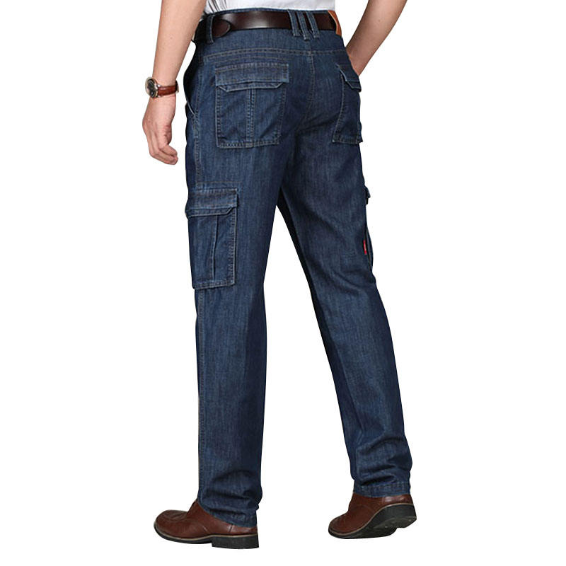 The straight man jeans regular big size add logo more pockets for work customized yulin OEM jeans
