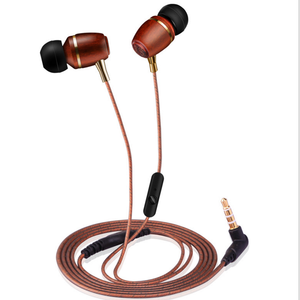Wood Plastic In-Ear Heavy Bass Earbud With Mic Quality Assurance Earphone