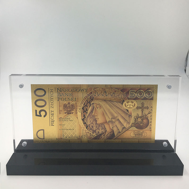 Unissued 1994 Edition Poland colored 24K gold plated money banknote 500 PLN with acrylic frame