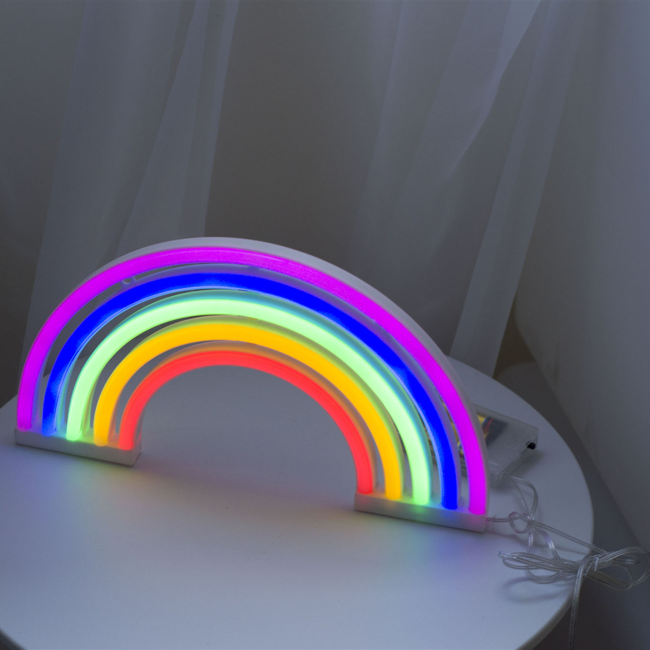 Decorative Battery Indoor Operated Desktop Rainbow Neon Table Light