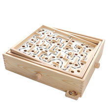 Natural pine wood indoor maze game for kids labyrinth toys
