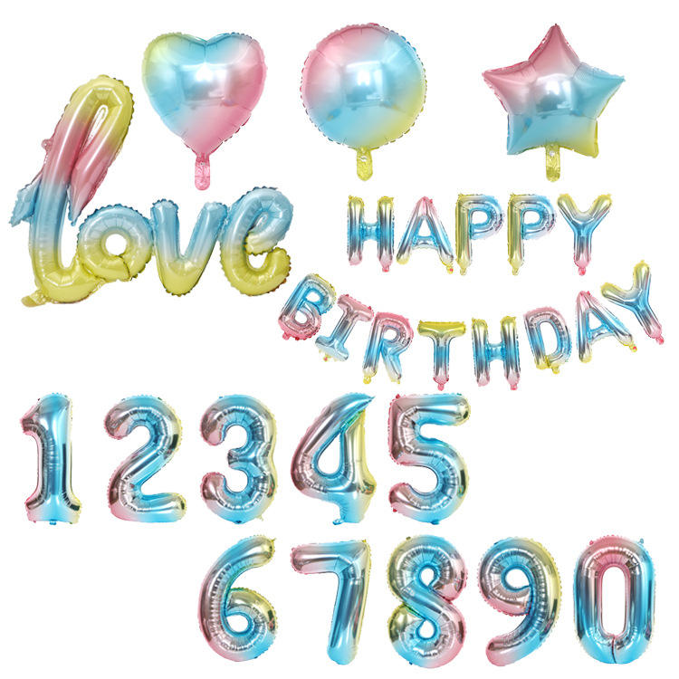 gradient color 18 inches star heart love balloon wedding Decorations Aluminum Foil Happy Birthday 32 inches Number Balloon
