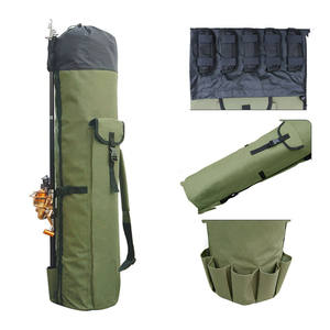 Large Capacity Folding Polyester Fishing Rod Case Carrier With Strap