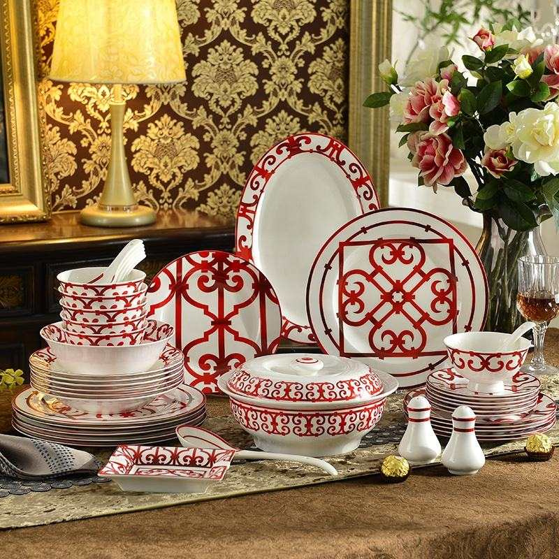 Luxury fine bone china dinnerware set 43pcs porcelain plate and dish bowl spoon for hotel