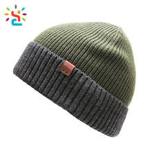 Slouch Olive Green Beanie Hat Warm Winter Custom Beanie Fold Unisex Outdoor Beanie
