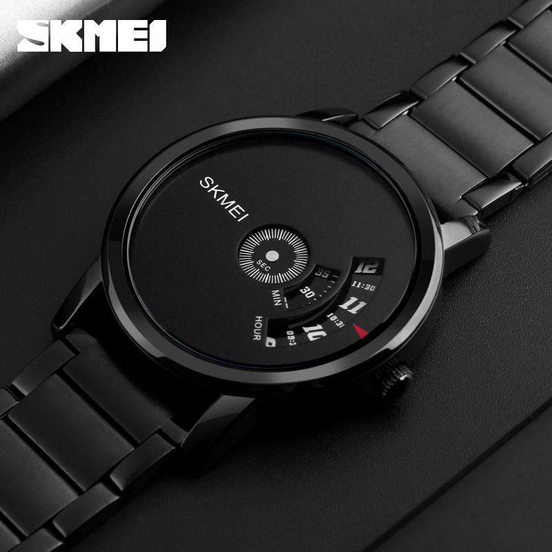 Hot selling jam tangan skmei 1260 simple style stainless steel watch 2 time zone men watch with japan quartz movement
