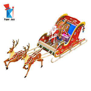 Christmas gift 3D santa snow sleigh decoration paper puzzle with LED