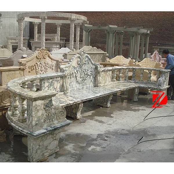 green marble long stone curved bench