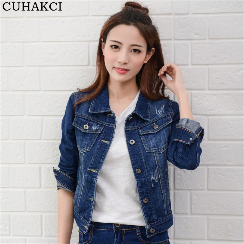 CUHAKCI Autumn Turn Down Collar Jeans Women Jacket Single Breasted Slim Short Denim Jackets Female Coat Vintage Outwear