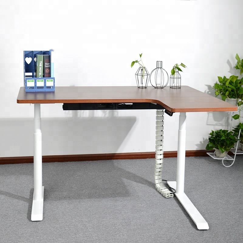 Professional ergonomic L-shape office sit standing desk for work home