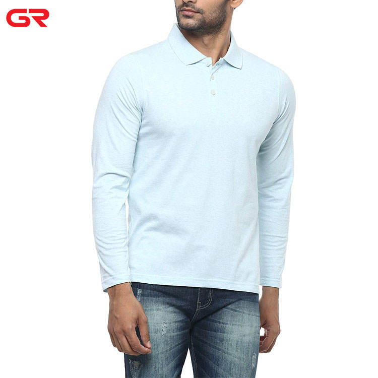 Wholesale Breathable Side Split Custom Logo Workout Men Long Sleeve Polo Shirt