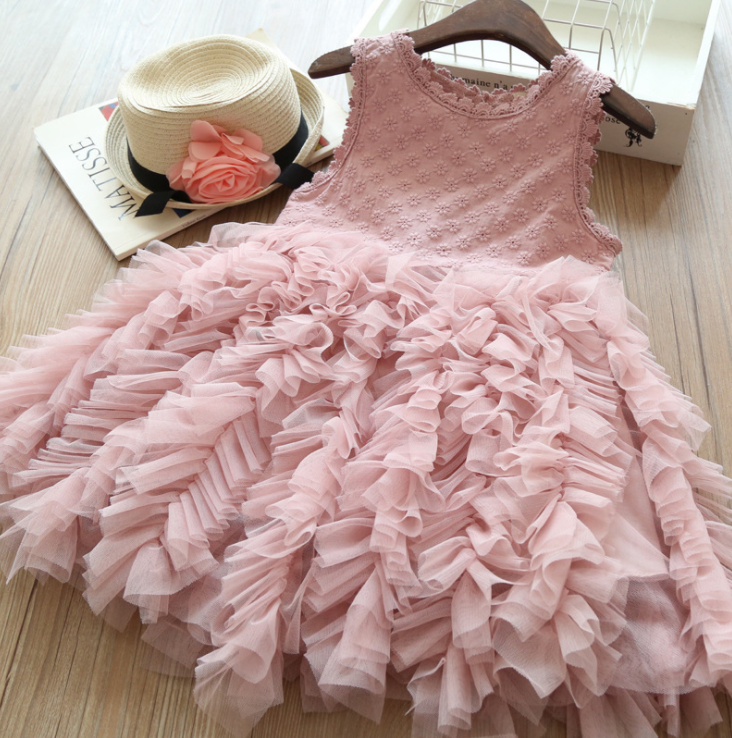 Wholesale Baby Girls Dress Floral Lace White Sleeveless Tulle Party Princess Dress