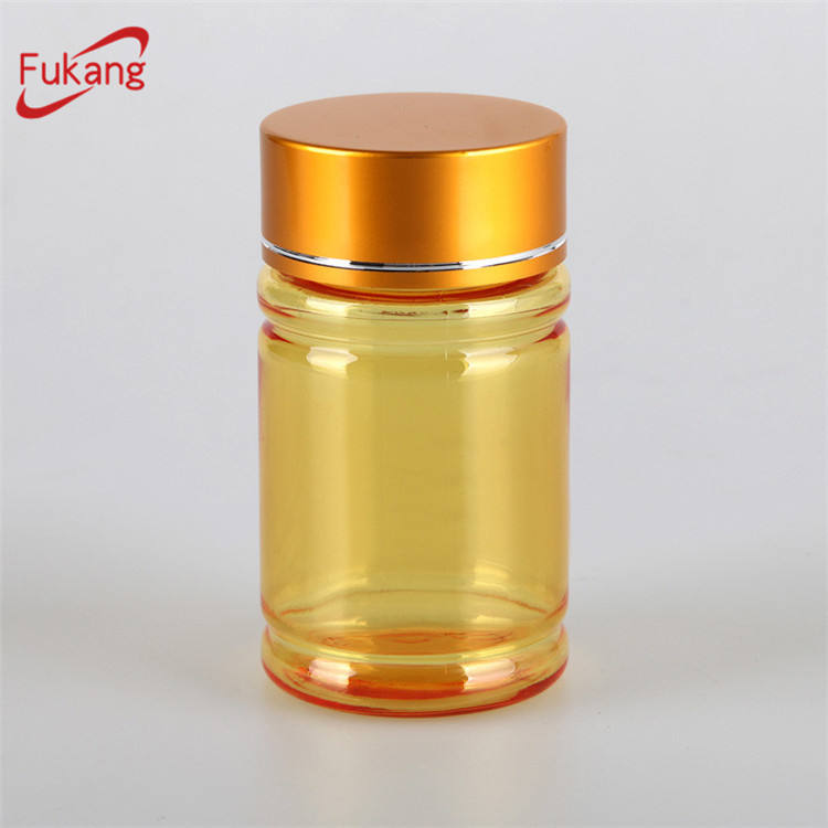 transparent yellow amber green color, cylindrical plastic medicine bottle jar with aluminum lid for health food/