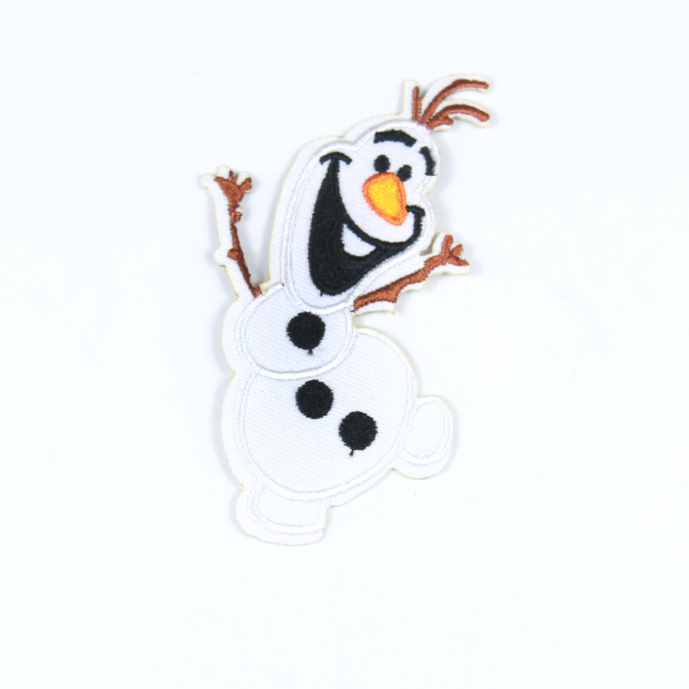 Custom cartoon snowman iron on embroidery patches for garment towel