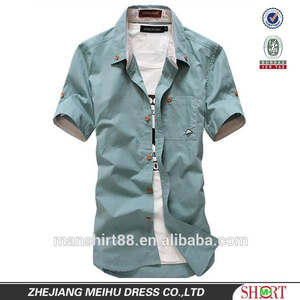 multi color new style 100% organic cotton casual men's half sleeve shirts with one chest pocket