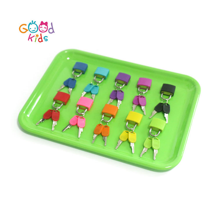 Wooden Montessori Toys Toddler Practical Education Learning Tools Intelligent Development Green Tray Color Matching Lock Set