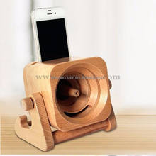 Portable,Wireless,Mini Special Feature Wood Bamboo Charger Tablet Holder Speaker for mobile phone
