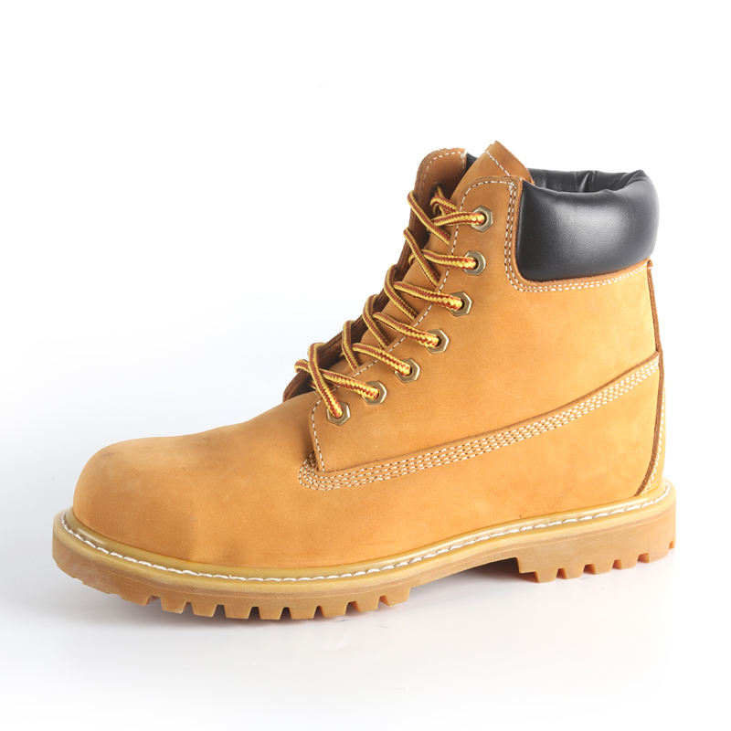 Yellow nubuck leather Composite toe cap,Goodyear welted rubber sole casual safety shoe ,Lightweight safety cheap men work boots