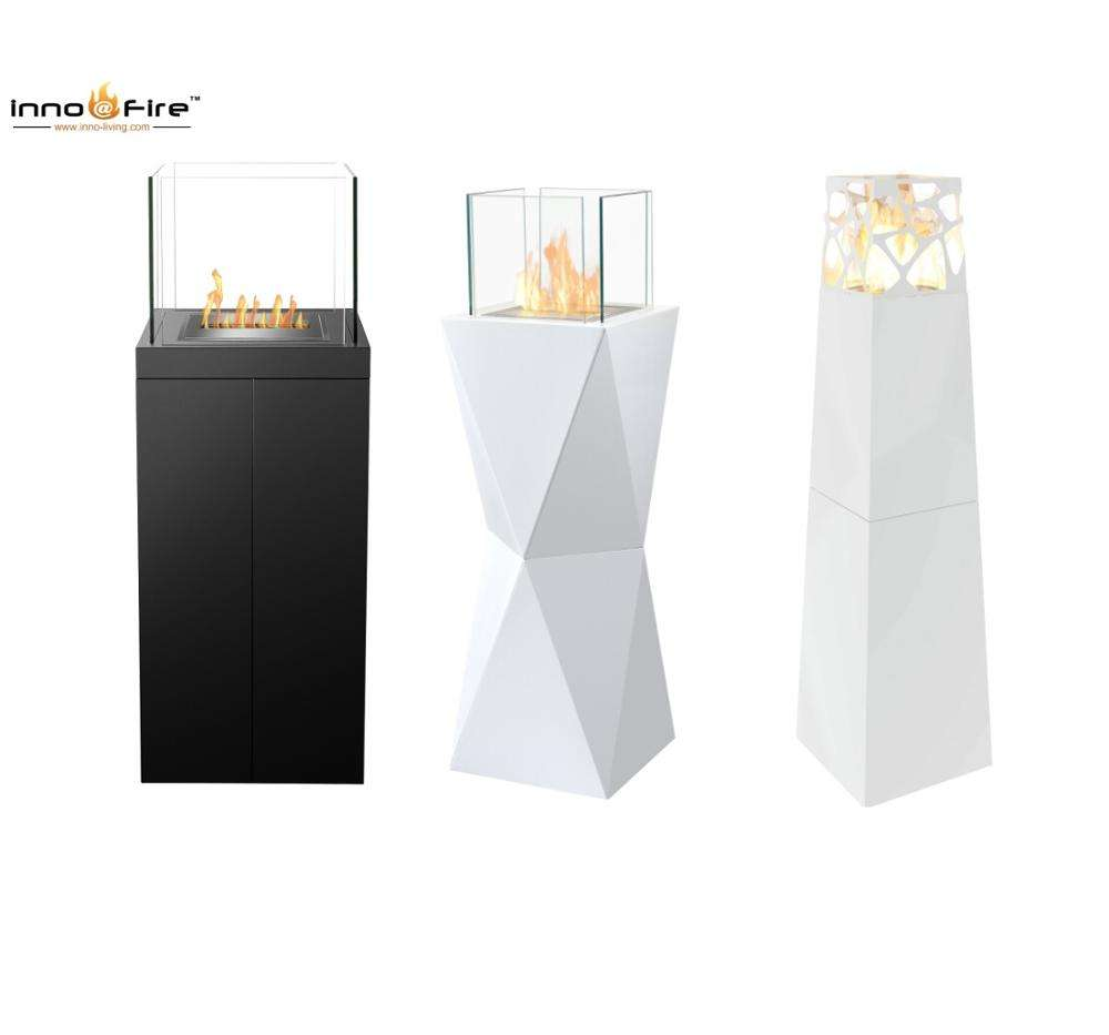 Inno-living FS01- Black outdoor ethanol fireplace freestanding garden chimney