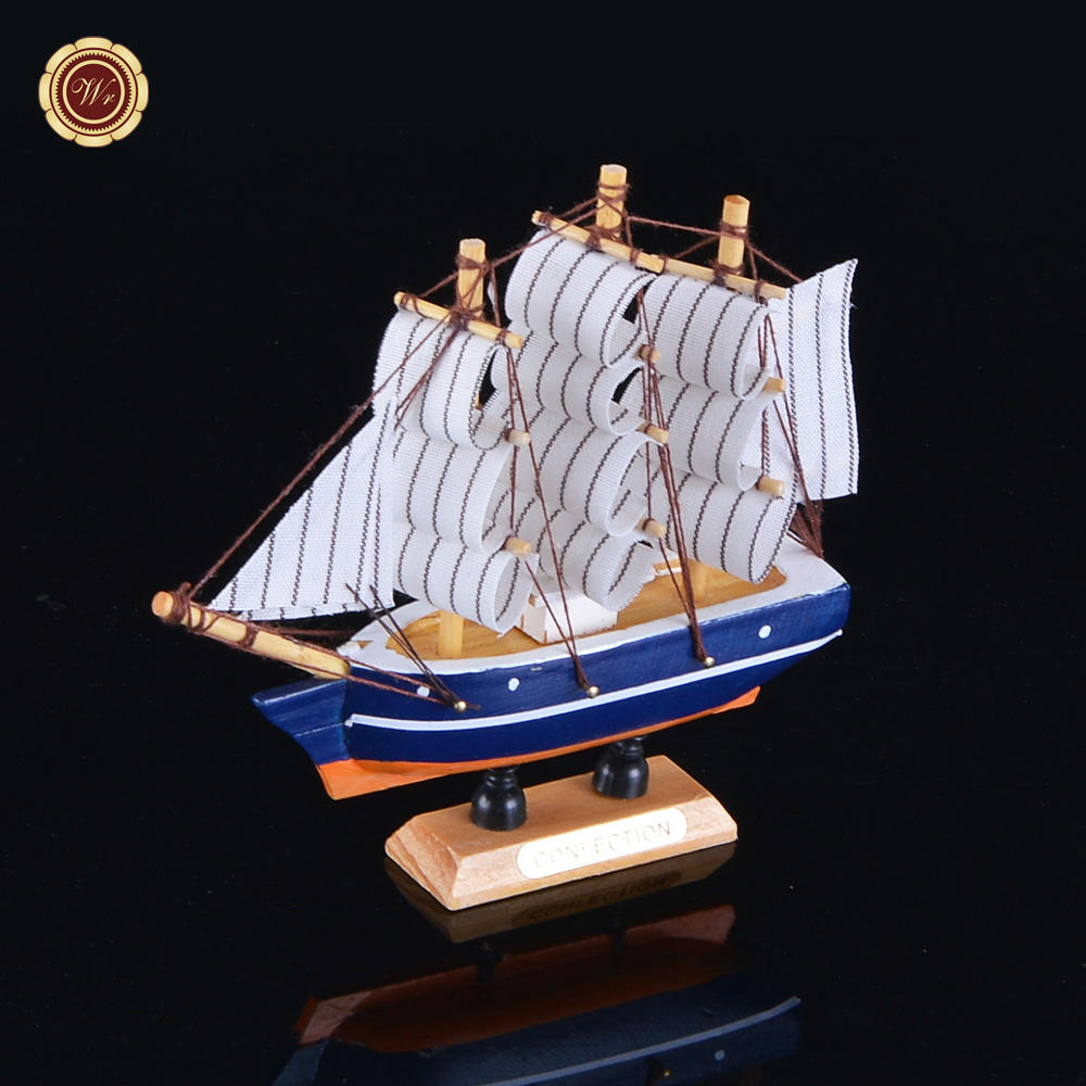 WR High Quality Art Craft Sailing Ship Model Wooden Sailboats Toy Collectible Figurines Home Office Desk Ornaments For Sale