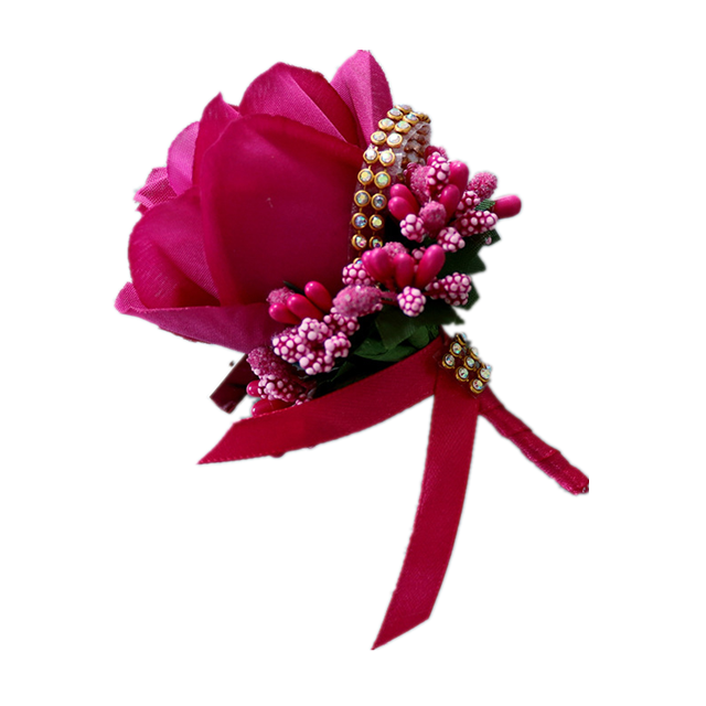 Wholesale hand work flowers artificial big flower ribbon brooch for wedding decor