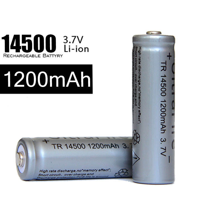 Aa 3.7 V voltaje Nominal kj4 14500 1200 mah li ion recargable para el Mini brillante recargable Q5 batería AA linterna