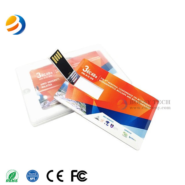 Bulk credit card usb flash drive 2.0 full color print with custom logo